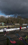 Molesey, Surrey. Dark Skies and bright sunshine as crews boat to compete in the Molesey Veterans Head. Saturday  21/02/2015  [Mandatory Credit; Peter Spurrier/Intersport-images]