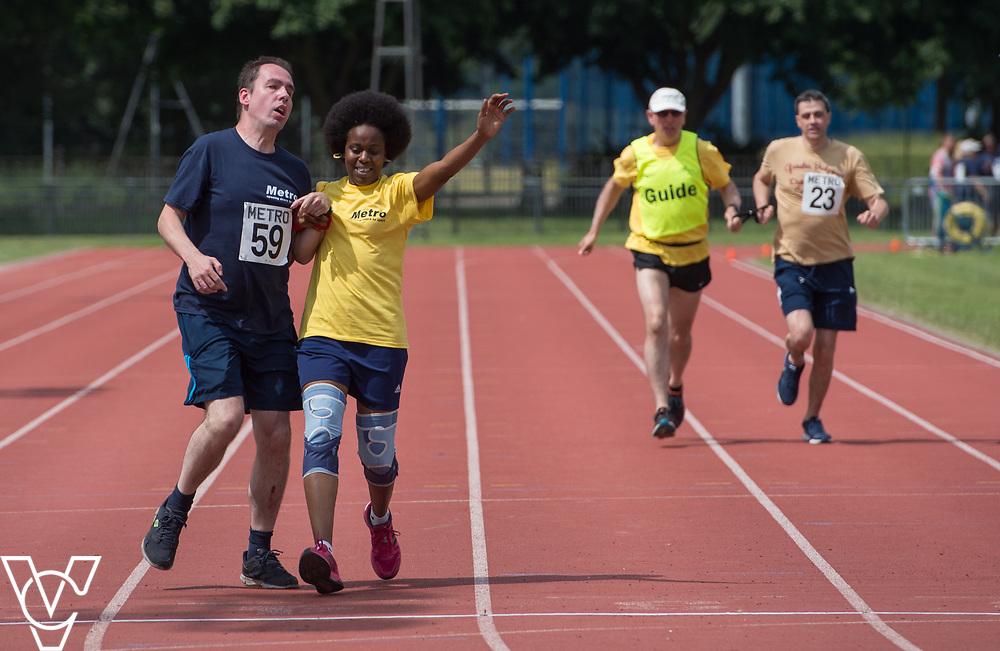 Metro Blind Sport's 2017 Athletics Open held at Mile End Stadium.  200m Senior Men - Final.  Vanja Sudar with guide runner <br /> <br /> Picture: Chris Vaughan Photography for Metro Blind Sport<br /> Date: June 17, 2017