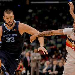 Jan 7, 2019; New Orleans, LA, USA; Memphis Grizzlies center Marc Gasol (33) drives past New Orleans Pelicans forward Anthony Davis (23) during the second quarter at the Smoothie King Center. Mandatory Credit: Derick E. Hingle-USA TODAY Sports