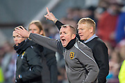 Livingston assistant manager David Martindale shouts to get the ball forward  during the 4th round of the William Hill Scottish Cup match between Heart of Midlothian and Livingston at Tynecastle Stadium, Edinburgh, Scotland on 20 January 2019.