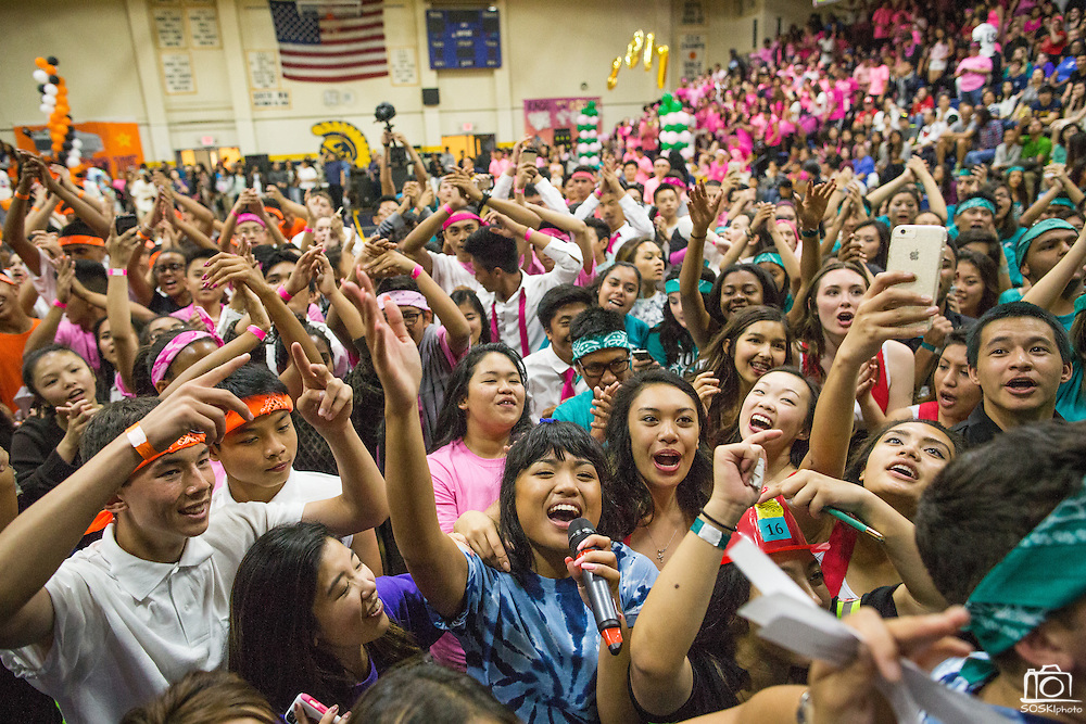 Milpitas High School students compete in various unorthodox events for class bragging rights during the annual Trojan Olympics at Milpitas High School in Milpitas, California, on March 27, 2015. (Stan Olszewski/SOSKIphoto)