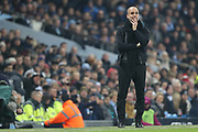 Pep Guardiola during the Premier League match between Manchester City and Newcastle United at the Etihad Stadium, Manchester, England on 20 January 2018. Photo by George Franks.