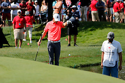 June 22, 2018 - Cromwell, CT, U.S. - CROMWELL, CT - JUNE 22: Jordan Spieth of the United States takes a drop on 15 during the Second Round of the Travelers Championship on June 22, 2018, at TPC River Highlands in Cromwell, Connecticut. (Photo by Fred Kfoury III/Icon Sportswire) (Credit Image: © Fred Kfoury Iii/Icon SMI via ZUMA Press)