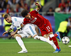 (L-R) Sergio Ramos of Real Madrid CF, Mohamed Salah of Liverpool FC during the UEFA Champions League final between Real Madrid and Liverpool on May 26, 2018 at NSC Olimpiyskiy Stadium in Kyiv, Ukraine
