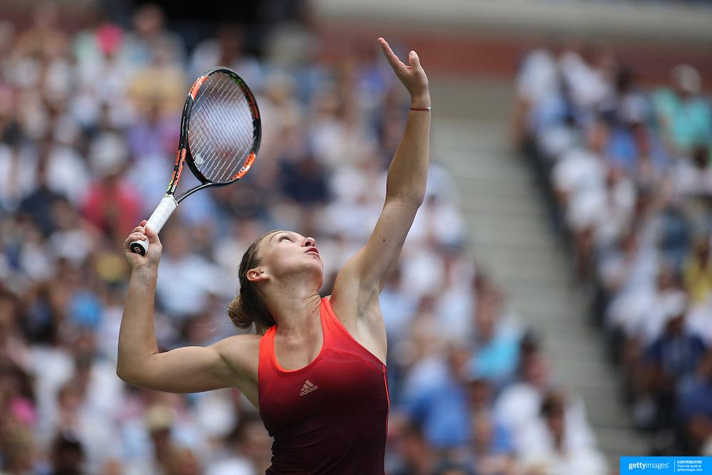 Simona Halep, Romania, in action against Victoria Azarenka, Belarus, in the Women's Singles Quarterfinals match during the US Open Tennis Tournament, Flushing, New York, USA. 9th September 2015. Photo Tim Clayton