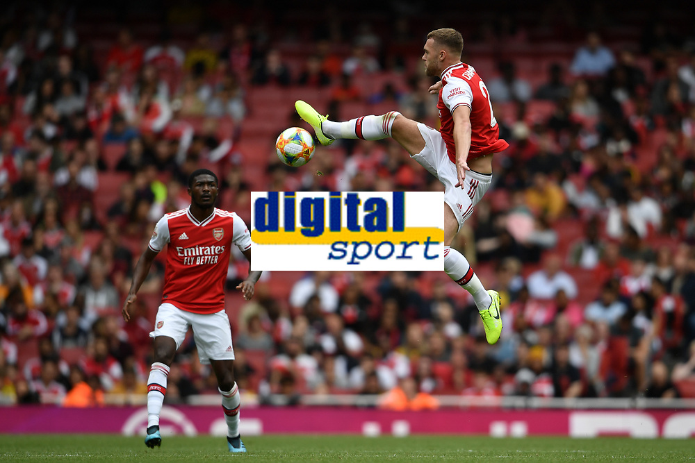 Football - 2019 Emirates Cup - Arsenal vs. Lyon<br /> <br /> Arsenal's Calum Chambers in action during this afternoon's game, at the Emirates Stadium.<br /> <br /> COLORSPORT/ASHLEY WESTERN