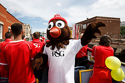 Scrumpy the team mascot poses during the Bristol City open top bus parade to celebrate winning both the League 1 and Johnstone's Paint Trophy titles this season and promotion to the Championship - Photo mandatory by-line: Rogan Thomson/JMP - 07966 386802 - 04/05/2015 - SPORT - FOOTBALL - Bristol, England - Bristol City Bus Parade.