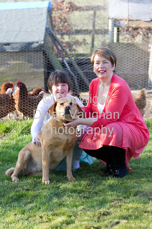 7/3/2011.Reflexologist Sharon Murphy pictured at her home in the Rower Kilkenny with her daughter Niamh aged 9 and dog Sally..Picture Dylan Vaughan.