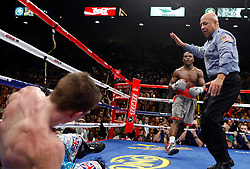 K.M. CANNON/REVIEW-JOURNALFloyd Mayweather of Las Vegas knocks out Ricky Hatton of Britain in the 10th round of their WBC World Welterweight Championship bout at the MGM Grand Garden Arena Saturday, Dec. 8, 2007. Referee Joe Cortez waves off the fight...