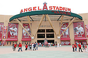 ANAHEIM, CA - MAY 22:  General view of the exterior main entrance of Angel Stadium prior to the game between the Atlanta Braves and the Los Angeles Angels of Anaheim on Sunday, May 22, 2011 at Angel Stadium in Anaheim, California. The Angels won the game 4-1. (Photo by Paul Spinelli/MLB Photos via Getty Images)