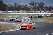 20th May 2018, Winton Motor Raceway, Victoria, Australia; Winton Supercars Supersprint Motor Racing; Fabian Coulthard leads the number 12 DJR Team Penske Ford Falcon FG X into the first corner during race 14 of the 2018 Supercars Championship