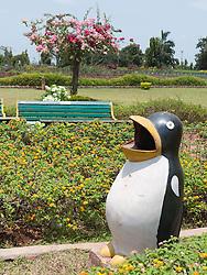 Litter bin in shape of penguin at the Hanging Gardens or Ferozeshah Mehta park, Mumbai.