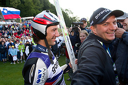 Primoz Peterka of Slovenia and Tomi Trbovc  after Ski Jumping Summer Continental Cup in Kranj and last jump of Primoz Peterka's career, one of the best ski jumpers in history, on July 2, 2011, in Kranj, Slovenia. (Photo by Vid Ponikvar / Sportida)