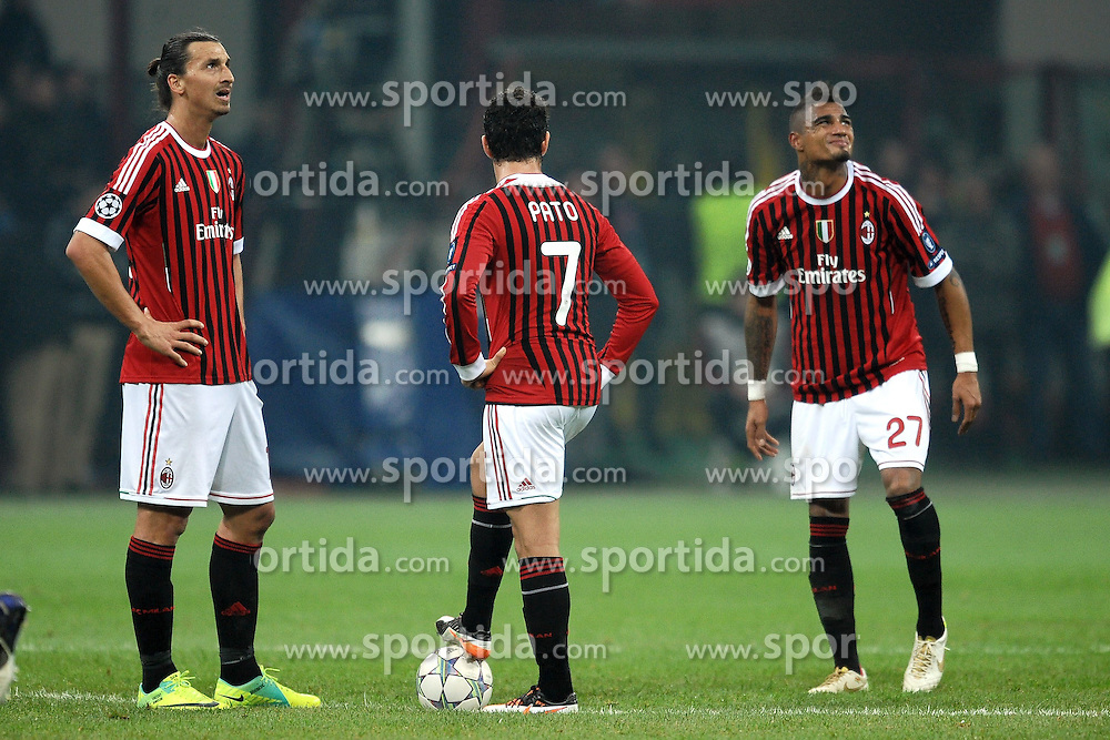 23.11.2011, Giuseppe Meazza Stadion, Mailand, ITA, UEFA CL, Gruppe H, AC Mailand (ITA) vs FC Barcelona (ESP), im Bild Delusione Zlatan IBRAHIMOVIC, Alexandre PATO, Kevin Prince BOATENG Milan, Dejection // during the football match of UEFA Champions league, group H, between Gruppe H, AC Mailand (ITA) and FC Barcelona (ESP) at Giuseppe Meazza Stadium, Milan, Italy on 2011/11/23. EXPA Pictures © 2011, PhotoCredit: EXPA/ Insidefoto/ Andrea Staccioli..***** ATTENTION - for AUT, SLO, CRO, SRB, SUI and SWE only *****