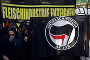 Hamburg | 01 May 2015<br /> <br /> About 1500 left-wing activists from several communist groups took part in a revolutionary May Day demonstration march against &quot;exploitation, poverty and war&quot; (Gegen Ausbeutung, Armut und Krieg) under the motto &quot;Hamburg sieht rot&quot;. The demonstration march started at Altona train station, from the very beginning of the rally there where violent clashes with police forces. Picture shows a banner of Antifaschistische Aktion.<br /> <br /> &copy;peter-juelich.com<br /> <br /> [No Model Release | No Property Release]