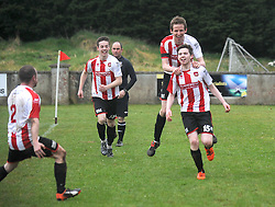 Ballyglass players celebrate their 3rd goal that scored by Liam Hughes that sealed the points.<br />