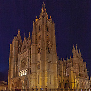 The historic Gothic style Leon Catherdral at night, along the Camino to Santiago de Compostela, Leon Spain