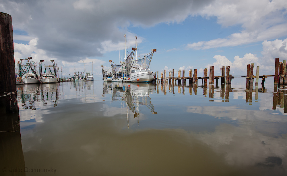 Docked shrimp boats at Dean Blanchard's Seafood Inc in Grand Isle, LA. the largest wholesale shrimp processing center in the state.  Blanchard is involved in a lawsuit against BP to get what is due to him in lost business since the 2010 spill. Blanchard has spoken out against BP and the government for not doing more to help the people in the Gulf region after the spill.