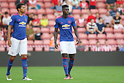 Axel Tuanzebe of Manchester United U23's in warm up during the Under 23 Premier League 2 match between Southampton and Manchester United at St Mary's Stadium, Southampton, England on 22 August 2016. Photo by Phil Duncan.