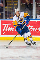 KELOWNA, BC - DECEMBER 01: Kirby Dach #77 of the Saskatoon Blades warms up with the puck against the Kelowna Rockets  at Prospera Place on December 1, 2018 in Kelowna, Canada. (Photo by Marissa Baecker/Getty Images)