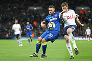 AFC Wimbledon striker Cody McDonald (10) battles for possession with Jan Vertonghen of Tottenham Hotspur (5) during the The FA Cup 3rd round match between Tottenham Hotspur and AFC Wimbledon at Wembley Stadium, London, England on 7 January 2018. Photo by Matthew Redman.