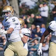 Salesianum Wide Receiver Jeremy Ryan (5) celebrates with his teammates after catching pass for a touchdown Saturday, Oct. 17, 2015 at Concord Stadium in Wilmington.