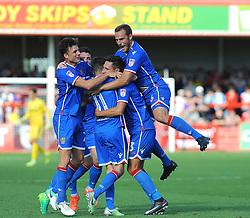 Joe Martin of Stevenage celebrates his goal with team mates- Mandatory by-line: Nizaam Jones/JMP - 02/09/2017 - FOOTBALL - LCI Rail Stadium - Cheltenham, England - Cheltenham Town v Stevenage- Sky Bet League Two