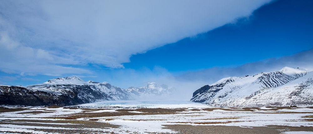 Glacial tongue of Svinafellsjokull glacier an outlet glacier of Vatnajokull, the largest ice cap in Europe, South Iceland