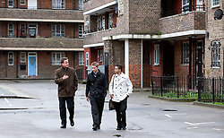 Leader of the Conservative Party David Cameron visits the Ocean Estate in Stepney, east London where he was shown around by 'London Citizens' Shahin Ahmed(L) and Matthew Bolton (C) who are trying to improve the estate for local residents, Wednesday March 31, 2010. Photo By Andrew Parsons / i-Images.