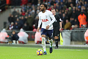 Danny Rose of Tottenham Hotspur (3) dribbling during the Premier League match between Tottenham Hotspur and Brighton and Hove Albion at Wembley Stadium, London, England on 13 December 2017. Photo by Matthew Redman.