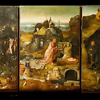 """Hermit Saints Triptych"" panels by Hieronymus Bosch on display at Palazzo Grimani. The  exhibition will be open until 20th March 2011"