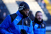 Notts County's Shola Ameobi(9) warming up before the EFL Sky Bet League 2 match between Notts County and Stevenage at Meadow Lane, Nottingham, England on 24 February 2018. Picture by Nigel Cole.