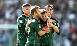 Matthew Kennedy of Plymouth Argyle celebrates scoring a goal with Gary Sawyer and David Fox of Plymouth Argyle - Mandatory by-line: Gary Day/JMP - 17/04/2017 - FOOTBALL - Home Park - Plymouth, England - Plymouth Argyle v Newport County - Sky Bet League Two