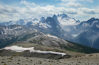 Howser Towers, Vowell Glacier. Seen from summit of Rocky Point Ridge.  Bugaboo Provincial Park Purcell Mountains British Columbia.