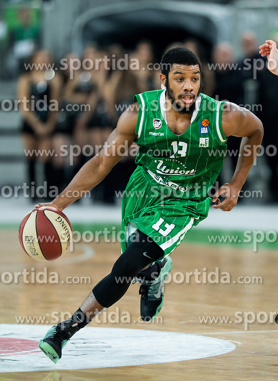 Brandon Jefferson #13 of KK Union Olimpija during basketball match between KK Union Olimpija Ljubljana and KK mega Leks in 14th Round of ABA League 2016/17, on December 18, 2016 in Arena Stozice, Ljubljana, Slovenia. Photo by Vid Ponikvar / Sportida