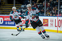 KELOWNA, CANADA - FEBRUARY 17:  Cal Foote #25 of the Kelowna Rockets warms up against the Edmonton Oil Kings on February 17, 2018 at Prospera Place in Kelowna, British Columbia, Canada.  (Photo by Marissa Baecker/Shoot the Breeze)  *** Local Caption ***