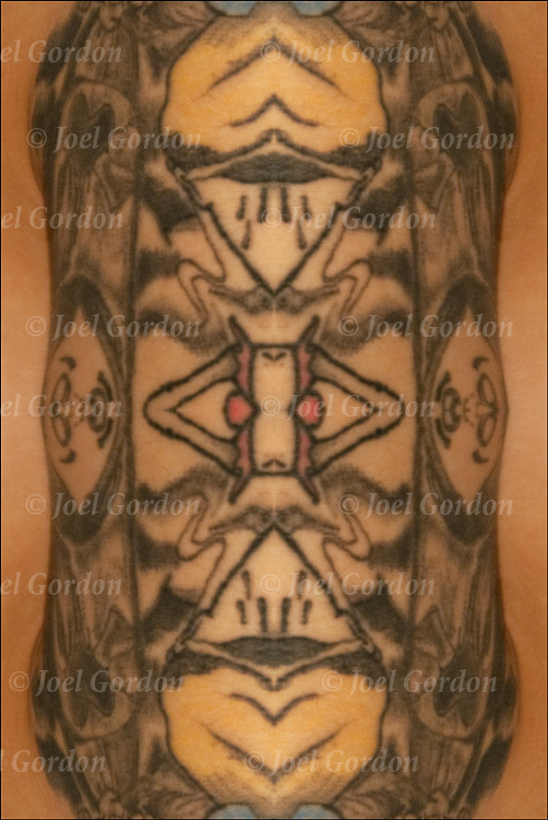 Photographic series of digital computer tattoo art, an illusion or fantasy generated from a real tattoo. <br /> <br /> Two or more layers were used to enhance, alter, manipulate the image, creating an abstract surrealistic mirrored symmetry.<br /> <br /> Is this tattoo real or is it a computer generated fantasy? Does it matter who the artist is or if it is real?<br /> <br /> It is up to you the viewer to decide.