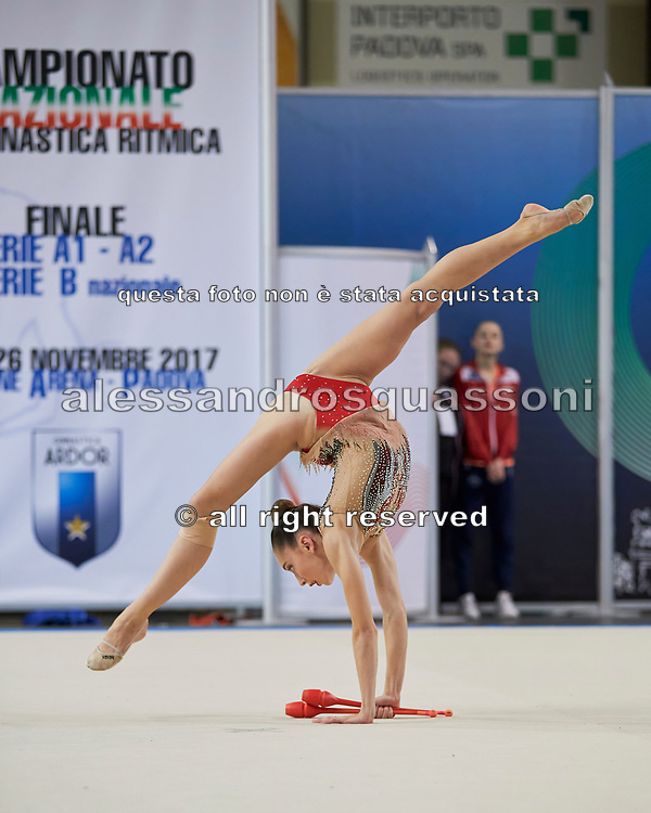 Talisa Torretti from Fabriano team during the Italian Rhythmic Gymnastics Championship in Padova, 25 November 2017.