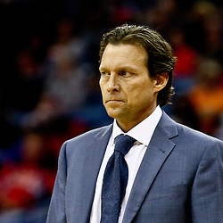 Feb 10, 2016; New Orleans, LA, USA; Utah Jazz head coach Quin Snyder against the New Orleans Pelicans during the second half of a game at the Smoothie King Center. The Pelicans defeated the Jazz 100-96. Mandatory Credit: Derick E. Hingle-USA TODAY Sports