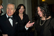 Italian Ambassador Giancarlo Aragona, Judith Greer and Hannah Rickards. Dinner at the Italian Embassy in which the winner of the MaxMara Art Prize ( in collaboration with the Whitechapel art gallery )for Women is announced. Grosvenor Sq. London. 29 January 2008.  -DO NOT ARCHIVE-© Copyright Photograph by Dafydd Jones. 248 Clapham Rd. London SW9 0PZ. Tel 0207 820 0771. www.dafjones.com.