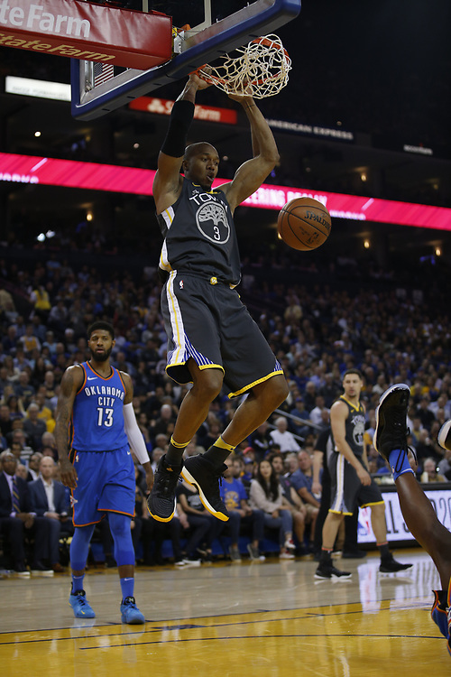 during the first half of an NBA game between the Warriors and Oklahoma City Thunder at Oracle Arena, Tuesday, Feb. 6, 2018, in Oakland, Calif.