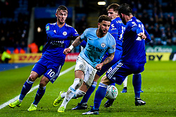 Kyle Walker of Manchester City goes past James Maddison, Marc Albrighton and Christian Fuchs of Leicester City - Mandatory by-line: Robbie Stephenson/JMP - 18/12/2018 - FOOTBALL - King Power Stadium - Leicester, England - Leicester City v Manchester City - Carabao Cup Quarter Finals