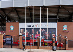 LIVERPOOL, ENGLAND - Monday, August 3, 2020: An image of Liverpool's captain Jordan Henderson wearing the new Nike home shirt on the Spion Kop at Anfield. Liverpool's new kit supplier Nike replaces New Balance in a five year deal reported to be worth $39.5 per year. (Pic by David Rawcliffe/Propaganda)