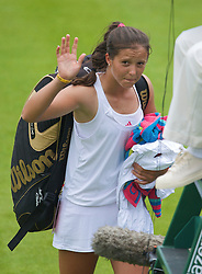 LONDON, ENGLAND - Monday, June 22, 2009: Laura Robson (GBR) waves goodbye after her 6-3, 4-6, 2-6 defeat during the 1st Round of the Ladies' Singles on day one of the Wimbledon Lawn Tennis Championships at the All England Lawn Tennis and Croquet Club. (Pic by David Rawcliffe/Propaganda)
