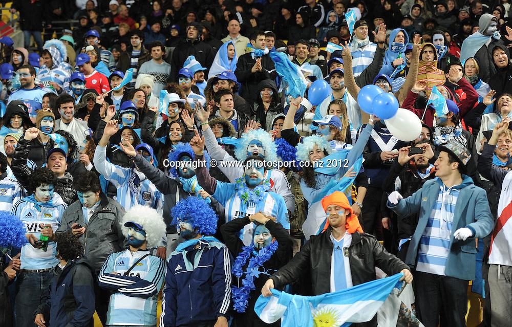 Argentina fans. The Rugby Championship test match, New Zealand All Blacks versus Argentina Pumas. Wellington. New Zealand. Saturday 8 September 2012.  Photo: Andrew Cornaga/Photosport.co.nz