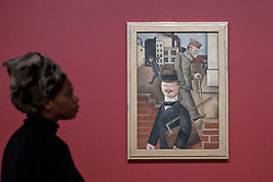 "© Licensed to London News Pictures. 04/06/2018. LONDON, UK. A gallery staff member views ""Grey Day, Grauer Tag"", 1921, by George Grosz at a preview of ""Aftermath:  Art in the wake of World War One"" at Tate Britain.  The exhibition marks 100 years since the end of the First World War, exploring the impact of the conflict on British, German, and French art in over 150 works from 1916 to 1932.  The show runs 5 June to 23 September 2018.  Photo credit: Stephen Chung/LNP"