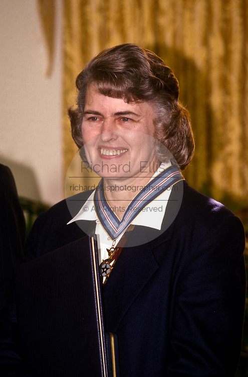 Dr. Shannon Lucid is awarded the Congressional Space Medal of Honor December 2, 1996 at the White House in Washington.