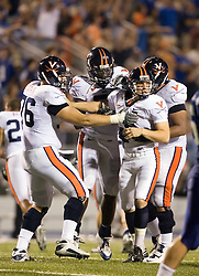 "Virginia kicker Chris Gould (9) kicked the game winning field goal with 0:12 left in the game.  The Virginia Cavaliers football team defeated Middle Tennessee State Blue Raiders 23-21 at Johnny ""Red"" Floyd Stadium  in Murfreesboro, TN on October 6, 2007."