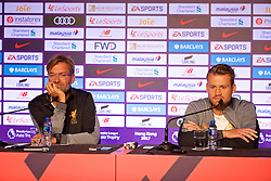 HONG KONG, CHINA - Tuesday, July 18, 2017: Liverpool's manager Jürgen Klopp and goalkeeper Simon Mignolet during a press conference at the Grand Hyatt Hotel Hong Kong ahead of the Premier League Asia Trophy 2017. (Pic by David Rawcliffe/Propaganda)
