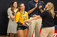 September 19, 2017 - Johnson City, Tennessee - Brooks Gym: ETSU defensive specialist Hailey Aguilar (1), ETSU head coach Lindsey Devine<br /> <br /> Image Credit: Dakota Hamilton/ETSU